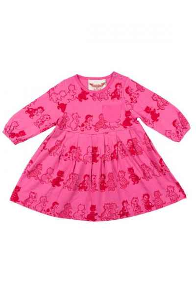 Vintage Kitten Print Pink Long Sleeve Baby and Toddler Girls Boutique Dress (Organic Cotton)