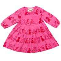 Vintage Kitten Print Pink Organic Cotton Long Sleeve Baby & Toddler Dress