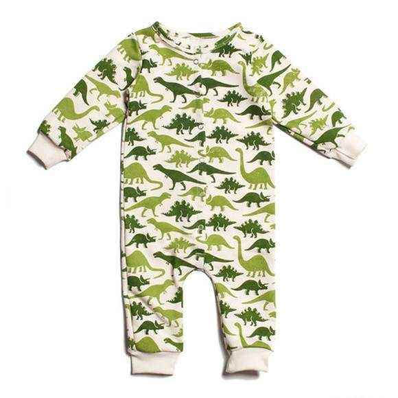 Green Dinosaur Print Long Sleeve Baby Boy Snap Jumpsuit Romper and Pajamas (American Made and Organic Cotton)