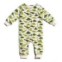 Green Dinosaur Print Organic Cotton Long Sleeve Baby Boy Snap Romper (American Made)