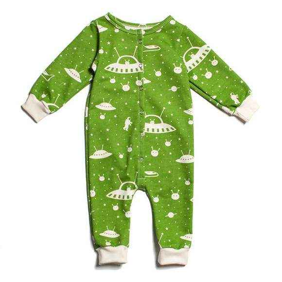 Green Space Print Long Sleeve Baby Snap Jumpsuit Romper & Pajamas (American Made & Organic Cotton)