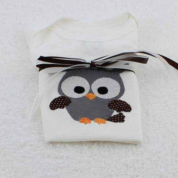 Hoot Owl Short Sleeve Baby Bodysuit
