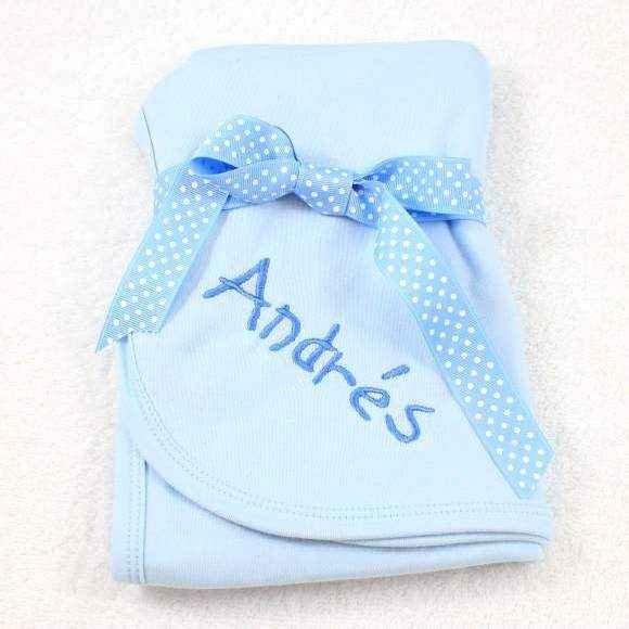 Personalized Blue Baby Boy Swaddling Blanket