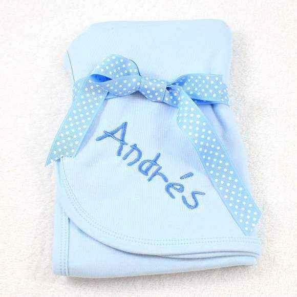 Personalized Blue Baby Boy Swaddling Blanket