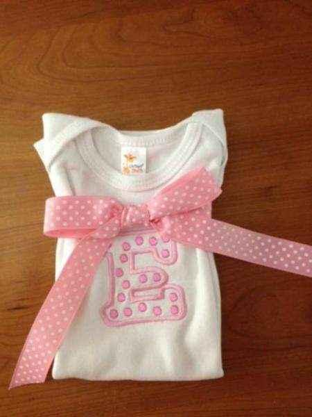Monogrammed Pink Initial Short Sleeve Baby Girl Bodysuit