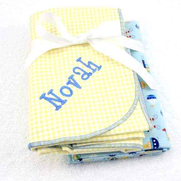 Personalized Boat Baby Boy Swaddling Blanket Gift Set (American Made)