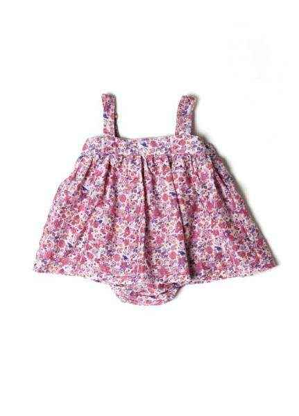 Pink Floral Sleeveless Baby Girl Bubble Dress