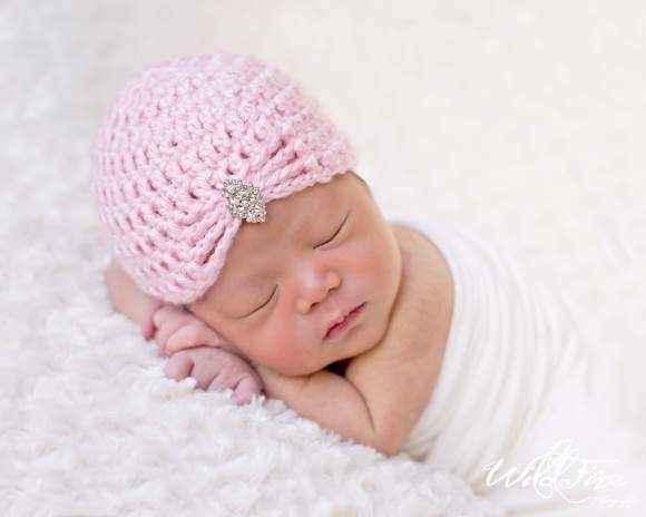 Della Pink Crocheted Baby Girl Rhinestone Hat (American Made)