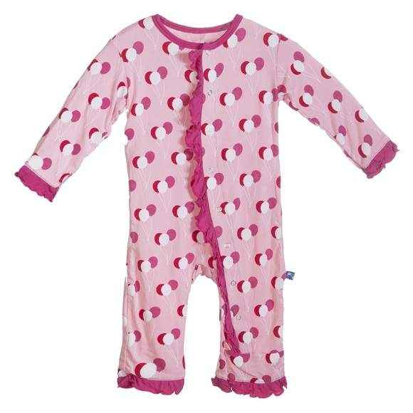 Balloon Print Pink Long Sleeve Baby Girl Jumpsuit and One Piece Pajamas (Organic Bamboo)