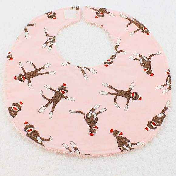 Pink Sock Monkey Retro Baby Girl Boutique Bib (American Made)