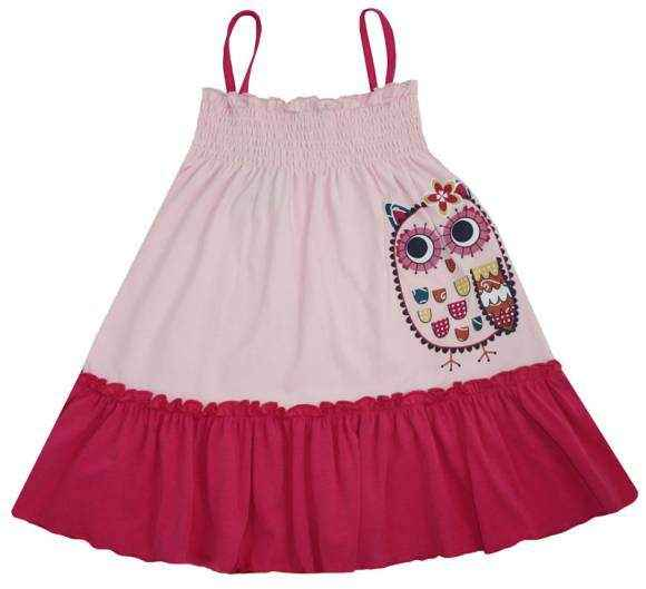 Owl Spaghetti Strap Little Girls Dress (Organic Cotton & Bamboo)