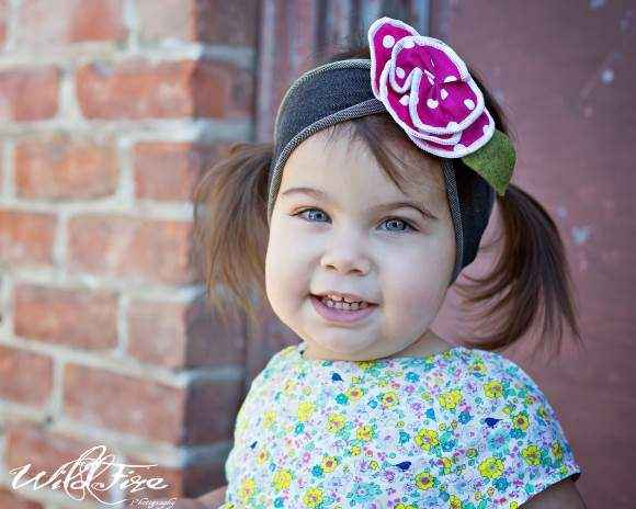 Pink Cupcake Polka Dot Baby and Girls Flower Headband (American Made)
