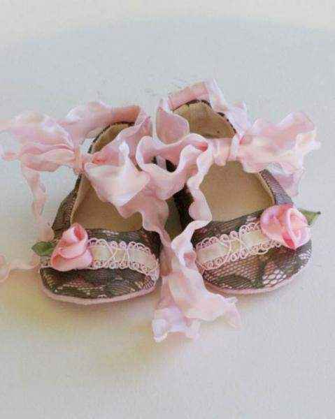 Pink Roses Couture Baby Shoes - ONLY SEVEN LEFT