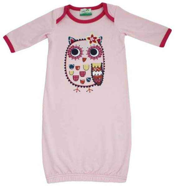 Owl Newborn Baby Girl Gown Sleepwear (Organic Cotton & Bamboo)
