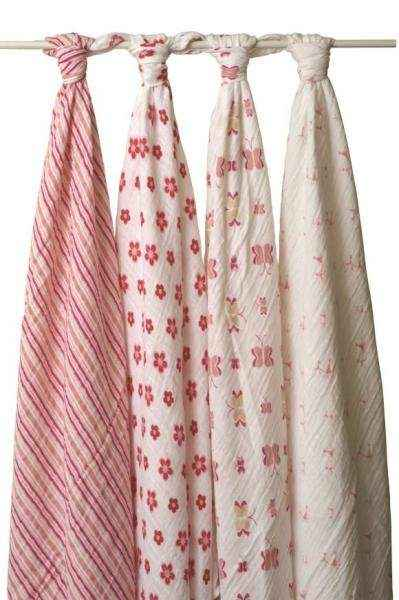 Princess Posie Muslin Swaddling Blanket Gift Set for Baby Girls