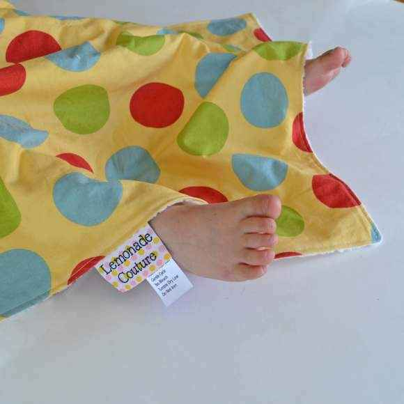Polka Dot Minky Travel Baby Blanket & Oversized Security Blanket (American Made)