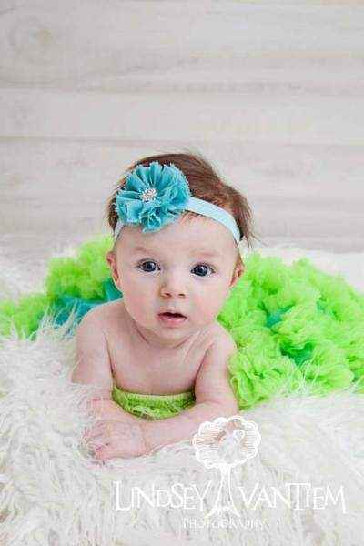 Turquoise and Lime Chiffon Baby Girl Boutique Pettiskirt
