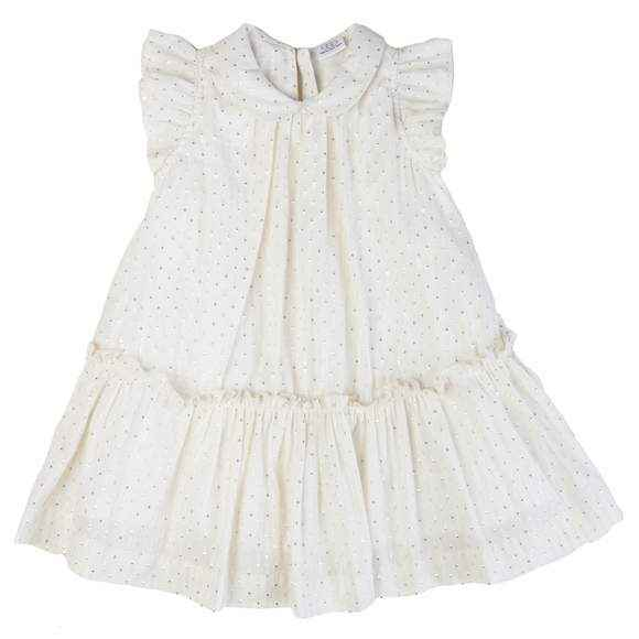 Ivory Metallic Dot Flutter Sleeve Baby and Girls Dress