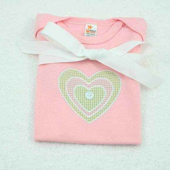 Pink Heart Short Sleeve Baby Girl Bodysuit