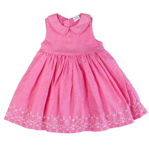 Pink Sleeveless Embroidered Baby and Little Girls Dress