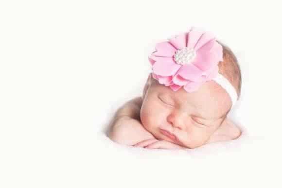 Maxine Baby and Girls Pink Flower Headband (American Made)