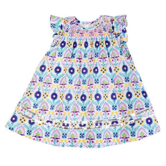 Smocked Flutter Sleeve Baby and Girls Dress