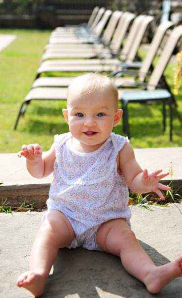 Floral Yoke-Front Sleeveless Baby Girl Romper (Organic Pima Cotton)