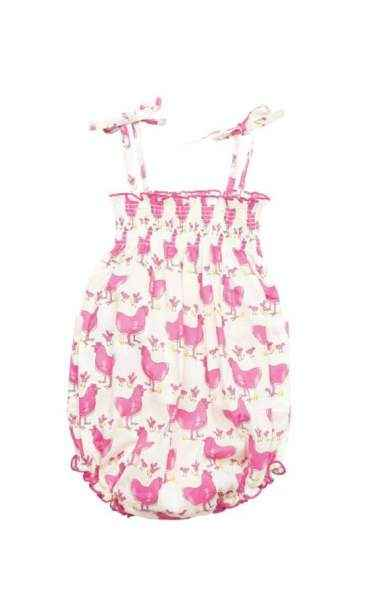 Pink Chicken Print Baby Girl Bubble Romper