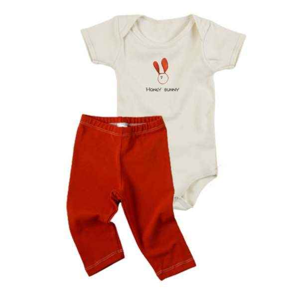 Honey Bunny Baby Outfit Gift Set with Short Sleeve Bodysuit & Pants (Organic Cotton)
