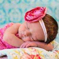 Amelia Pink and Red Baby and Girls Flower Headband (American Made)