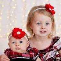 Priscilla Red Baby Girl Flower Headband (American Made)