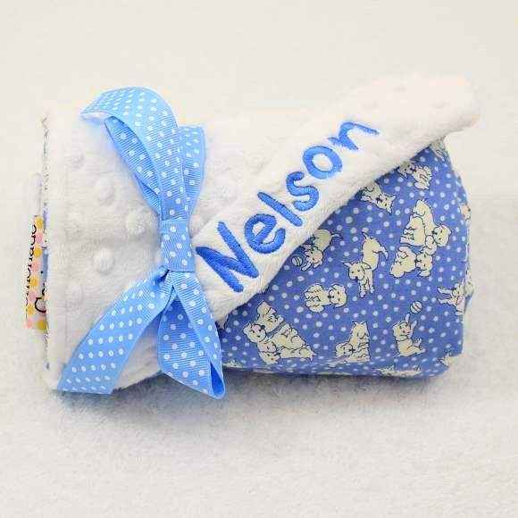 Blue Dog Print Minky Baby Boy Stroller Blanket (American Made) (Available Embroidered with a Name)