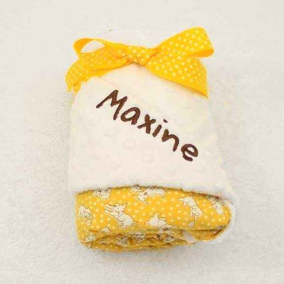 Yellow Dog Print Minky Baby Stroller Blanket (American Made) (Available Embroidered with a Name)