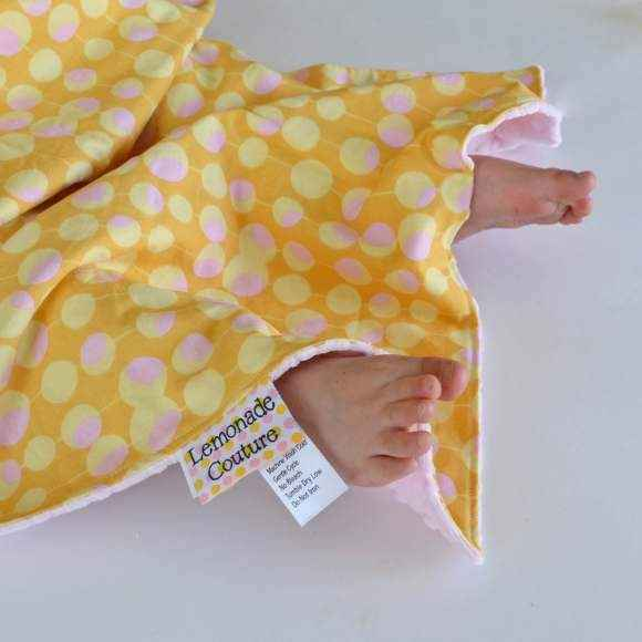 Pink and Yellow Minky Travel Baby Girl Blanket (American Made)