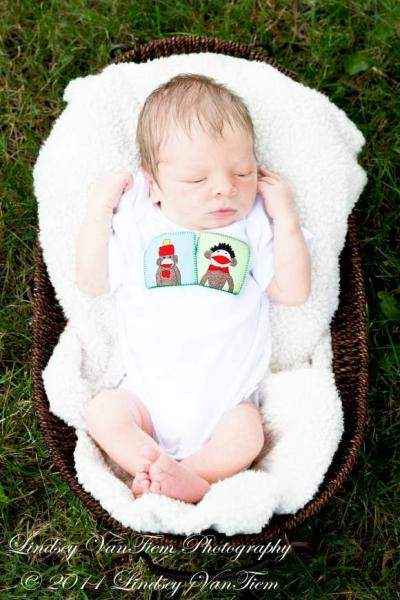 Sock Monkey Short Sleeve Baby Bodysuit