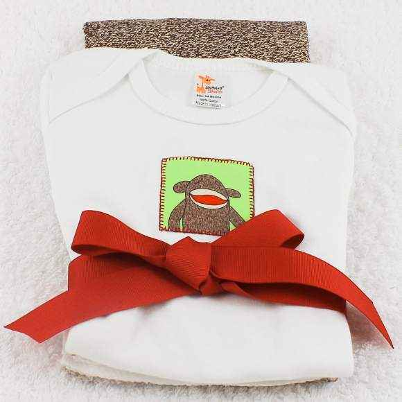 Sleeping Sock Monkey Short Sleeve Baby Bodysuit and Burp Cloth Gift Set