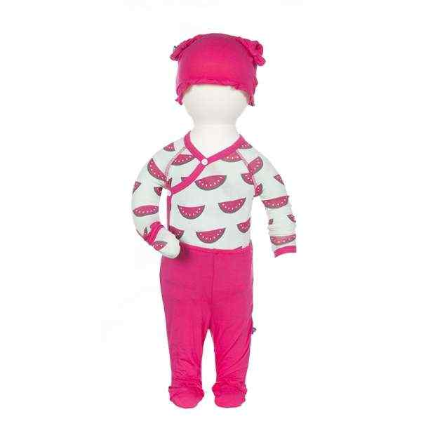 Watermelon Print Baby Girl 3 Piece Outfit Gift Set with Long Sleeve Bodysuit, Footed Pants and Hat (Organic Bamboo)