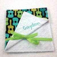 Guitar Print Minky Travel Baby Blanket and Oversized Security Blanket Available Personalized (American Made)