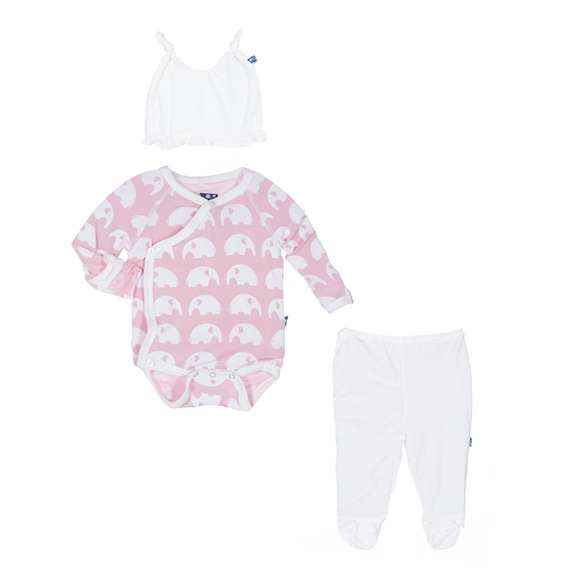 Pink Elephant Print Baby Girl 3 Piece Outfit Gift Set with Long Sleeve Bodysuit, Footed Pants and Hat (Organic Bamboo)