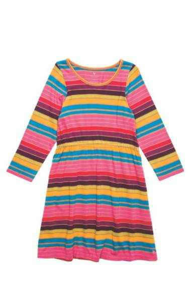 Striped Long Sleeve Big Girls Dress