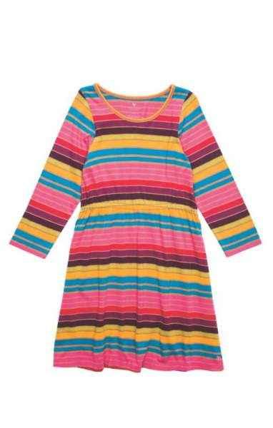 Striped Long Sleeve Big Girls Dress