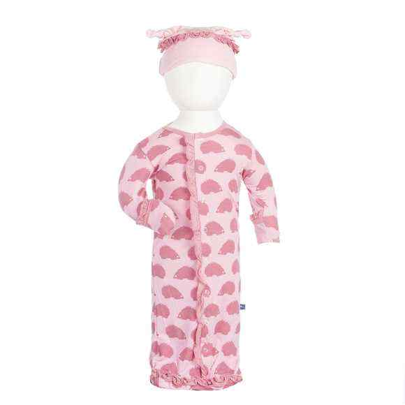 Porcupine Print Baby Girl Long Sleeve Sleep Sack and Hat Set (Organic Bamboo)