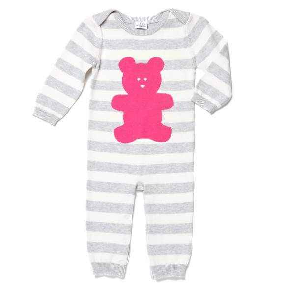 Magenta Bear Long Sleeve Baby Girl Jumpsuit