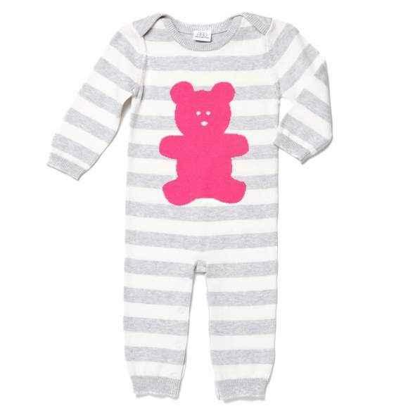 Magenta Bear Long Sleeve Baby Girl Jumpsuit