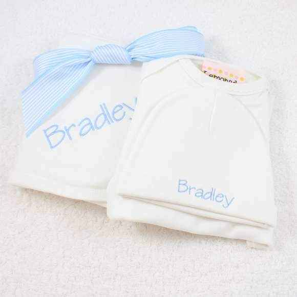 Personalized Blue Newborn Baby Boy Take Home Outfit Set Gift Set with Gown, Hat & Swaddling/Stroller Blanket - ONLY ONE LEFT!