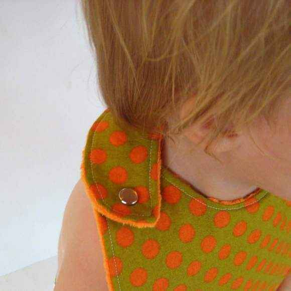 Orange Dot Modern Soft Minky Boutique Baby Bib (American Made)