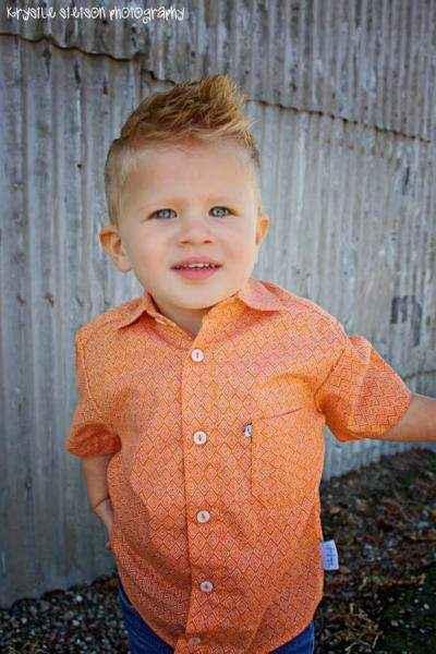 Boomerang Orange Print Short Sleeve Big Boys Button Down Shirt (American Made)