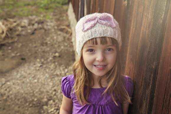 Knit Pink Bow Baby and Girls Hat