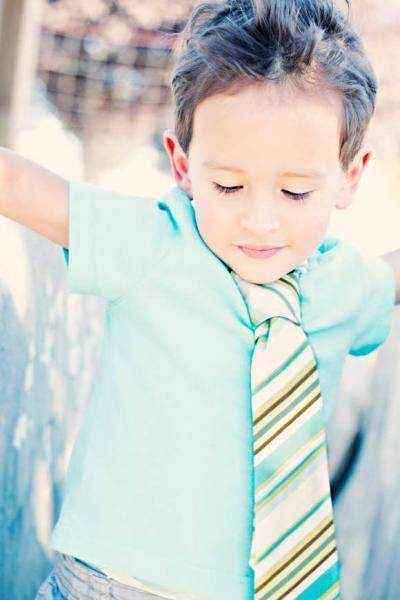 Aqua Stripes Baby & Little Boys Velcro Necktie (American Made)