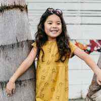 Brunch Print Organic Short Sleeve Little Girls Dress (American Made and Organic Cotton)